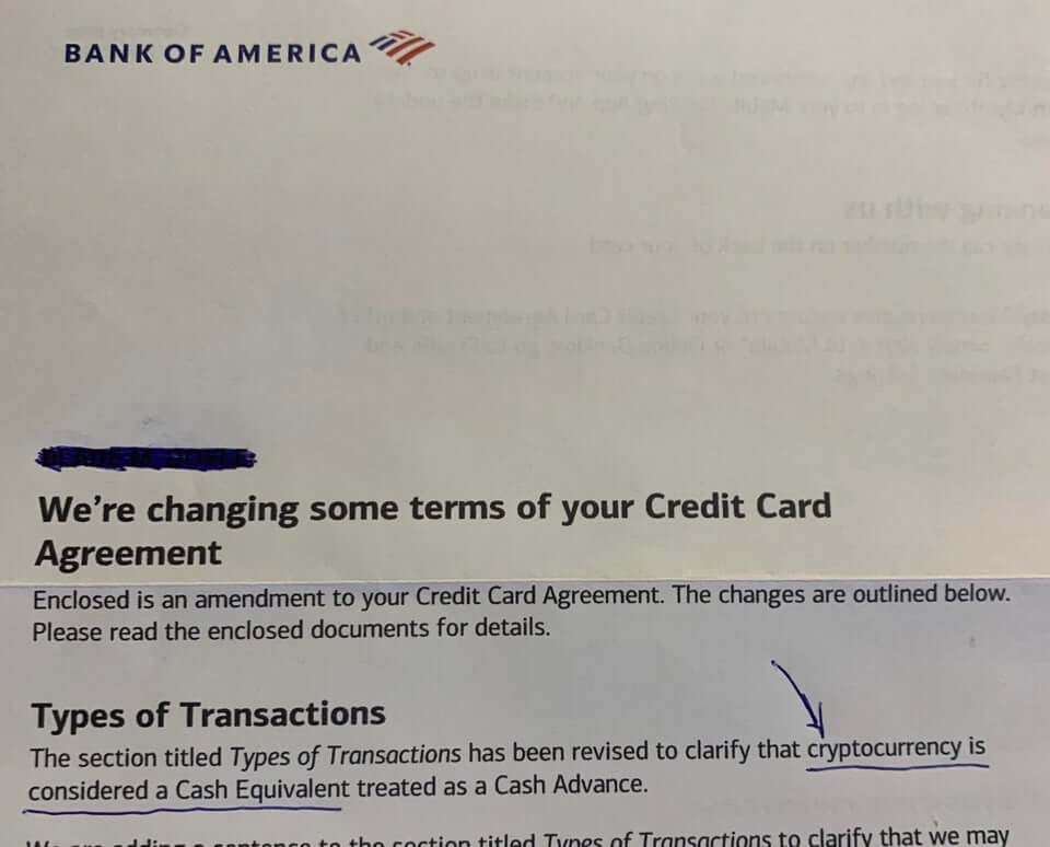 """Bank of America is treating Bitcoin, Ether as """"cash,"""" will let you purchase crypto with credit cards 