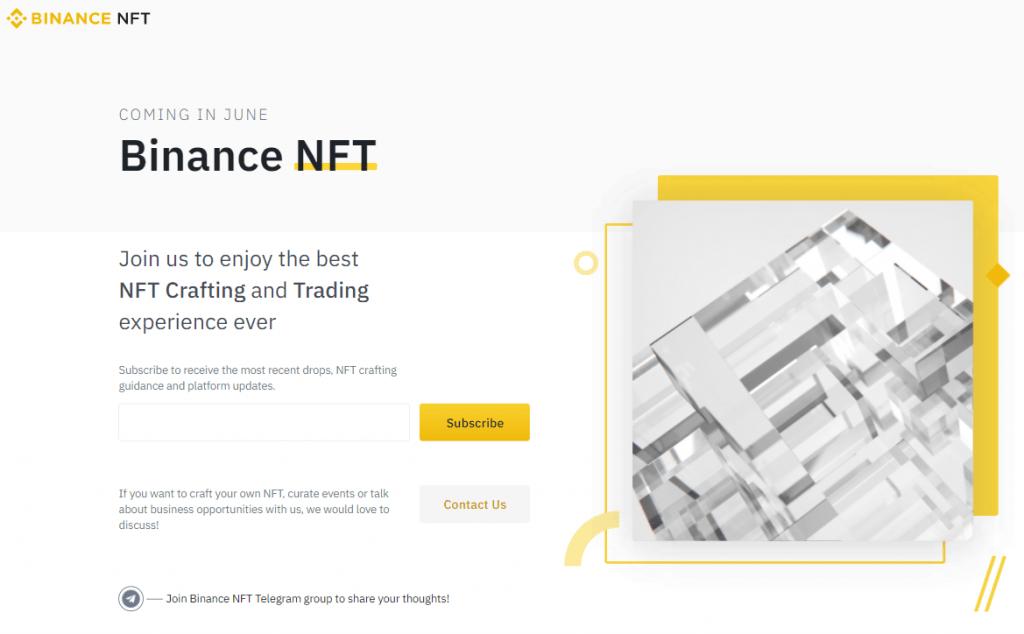Binance to Launch NFT Marketplace (April 28, 2021)