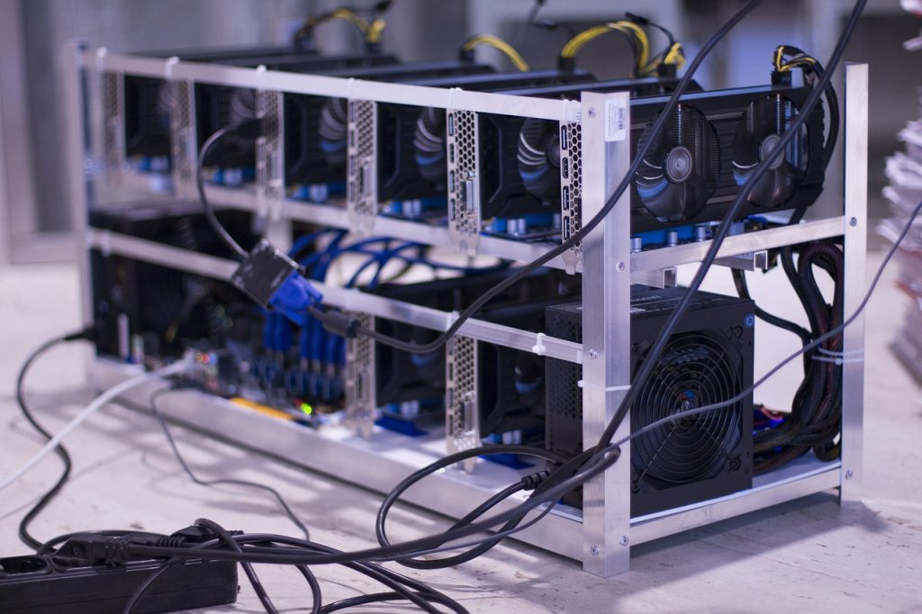 Bitcoin mining, several miners in an aluminum case