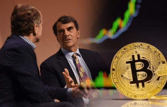 Picture of Tim Draper talking to a show host, with a bitcoin and chart lines next to him